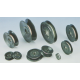 Plastic flanged ceramic pulley